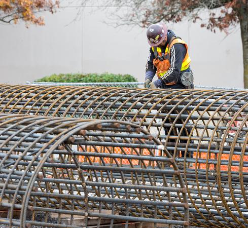 bridge pillar rebar steel worker